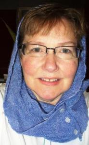 blue scarf selfie